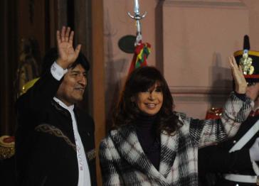 Evo Morales mit Amtskollegin Christina Fernández de Kirchner am Mittwoch in der Casa Rosada, Buenos Aires