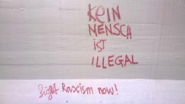 Graffiti als Protest gegen Asylpolitik