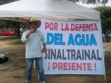 """Transparent der Gewerkschaft Sinaltrainal: """"Für die Verteidigung des Wassers setzt Sinaltrainal sich ein"""""""