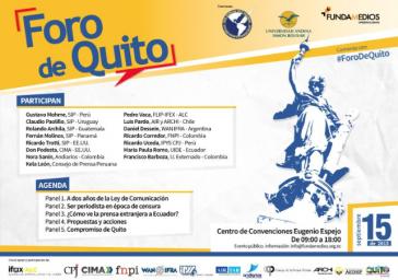 Plakat zum Forum gegen das Mediengesetz am 15. September in Quito