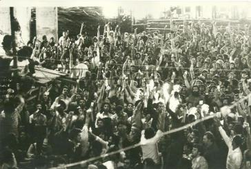 Gewerkschaftsakivisten bei einer Versammlung in São Paulo im August 1981