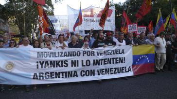 In zahlreichen Ländern Lateinamerikas finden Proteste gegen die Maßnahmen der USA gegen Venezuela statt, hier in Argentinien