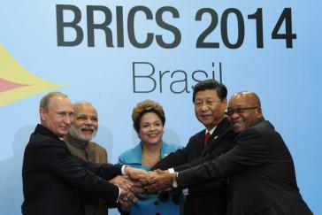 Die BRICS-Staatschefs zum Gipfel am 15. Juli 2014 in Brasilien