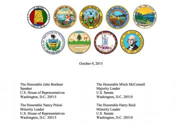 Kopfzeile des Briefes der US-Gouverneure mit den Wappen der jeweiligen Bundesstaaten