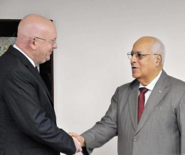 Ricardo Cabrisas (rechts) und Russlands Vizeaußenminister Wassili Nebensja vergangene Woche in Havanna