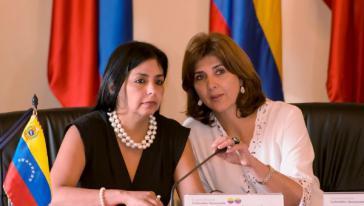 Um Dialog bemüht: Außenministerinnen Rodríguez (links im Bild) und Holguín