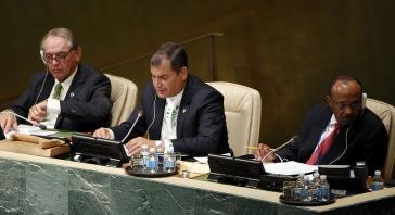 Präsident Correa bei seiner Ansprache am 27. September 2015 in New York
