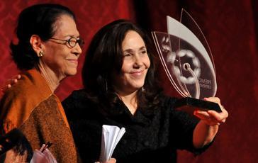 Die LGTB-Aktivistin und Tochter von Raul Castro, Mariela Castro, bei der Übergabe der Auszeichnung zum Schutz der sexuellen Rechte im Theater Karl Marx