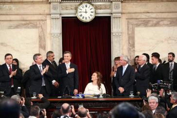Mauricio Macri wärend seines Amtseids
