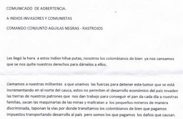 """Drohbrief des Kommando """"Soziale Säuberung"""" der Rastrojos zusammen mit dem """"Antikommunistischen Kommando"""" der Águilas Negras"""