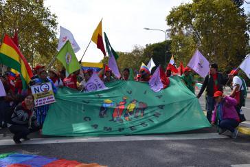 Die Demonstration der Bauernorganisationen führte zur US-Botschaft in Buenos Aires