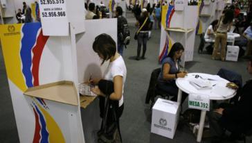 Wahlbüro am 25. Oktober in Kolumbiens Hauptstadt Bogotá
