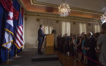 Bruno Rodríguez Parrilla, Außenminister der Republik Kuba, bei seiner Ansprache am 20. Juli