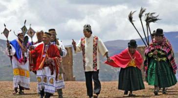 Amtseinführung von Boliviens Präsident Evo Morales nach indigenen Riten