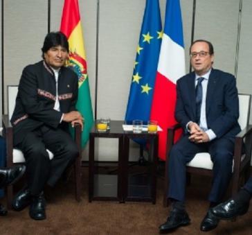 Präsident Evo Morales und Präsident François Hollande in Frankreich