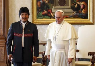 Boliviens Präsident Evo Morales und Papst Franziskus im Oktober 2014 im Vatikan