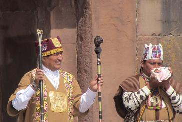 Evo Morales bei der Amtseinführung am 21. Januar in Tiwanaku