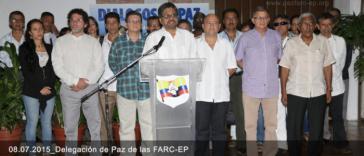 Die Friedensdelegation der Farc erklärt am 8. Juli in Havanna erneut einen einseitigen Waffenstillstand