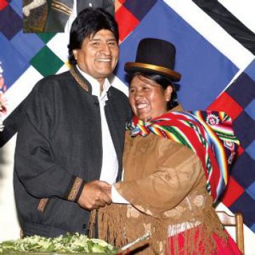 Felipa Huanca und Evo Morales.