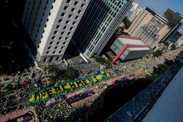 Demonstranten in São Paulo forderten ein sofortiges Amtsenthebungsverfahren gegen Präsidentin Rousseff