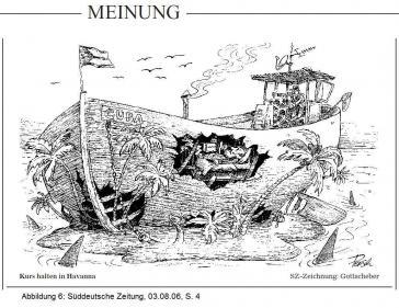 """Eine SZ-Karikatur zeigt ein durchlöchtertes """"Cuba""""-Schiff in der Karibik und der Unterschrift: """"Kurs halten in Havanna"""""""