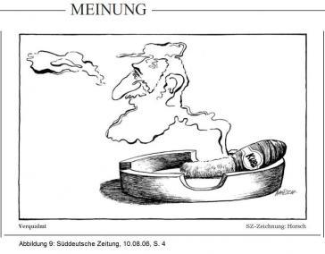 """Karikatur in der SZ mit der Unterschrift """"Verqualmt"""": Castro als Rauch einer kubanischen Zigarre, dessen Silhouette sich langsam auflöst"""