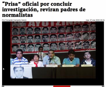 """Bericht in """"La Jornada"""" über die Pressekonferenz der Angehörigen und ihres Rechtsanwaltes Vidulfo Rosales"""