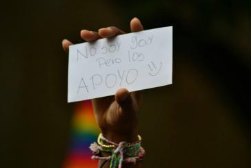 """""""Ich bin nicht homosexuell, aber ich unterstütze!"""" während der Demonstration in Cali"""