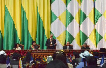 Linera bei seiner Ansprache