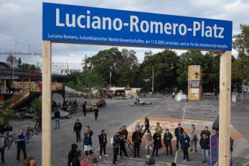 Aktion von MultiWatch in Bern zum Gedenken an den ermordeten Nestlé-Gewerkschafter Luciano Romero