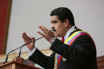 Präsident Nicolás Maduro bei seiner Ansprache am Mittwoch