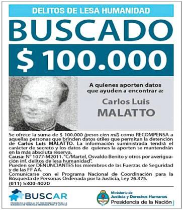 Die argentinische Regierung hatte  Malatto zur Fahndung ausgeschrieben