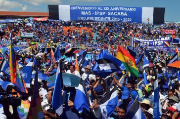 Kundgebung der MAS in Cochabamba am 29. März 2014 anlässlich ihres 19-jährigen Bestehens