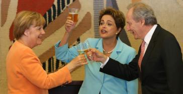 Angela Merkel, Dilma Rousseff und der Präsident des Obersten Gerichtshofes, Ricardo Lewandowski