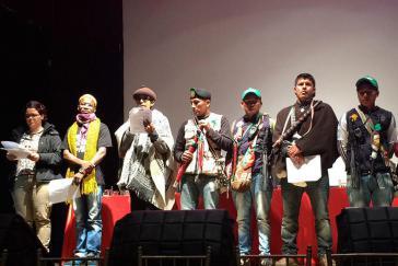 Sprecher sozialer Bewegungen bei der Veranstaltung in Bogotá