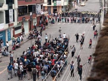 Die Beteiligung an den Protesten ist eher gering, hier in der Provinz Morona Santiago