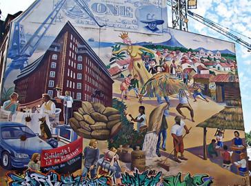 Wandbild in Hamburg zur Solidarität mit Nicaragua
