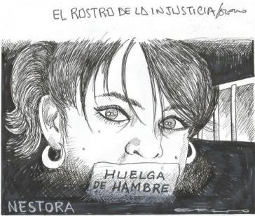 """Porträtzeichnung von Nestora Salgado. Unten: """"Hungerstreik"""""""