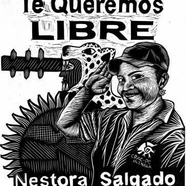 """Plakat in Solidarität mit Nestora Salgado: """"Wir wollenn dich in Freiheit"""""""