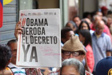 """""""Obama, nimm das Dekret JETZT zurück"""". Am vergangenen Donnerstag begann die Unterschriftensammlung in Venezuela"""