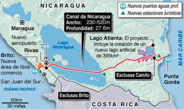 Die geplante Route des Nicaragua-Kanals