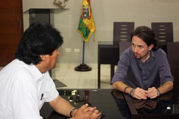 Boliviens Präsident Evo Morales im Gespräch mit Pablo Iglesias von Podemos im September 2014