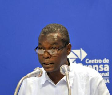 Pedro Luis Pedroso vom kubanischen Außenministerium bei der Pressekonferenz am Donnerstag