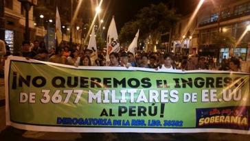 Demonstration gegen die Stationierung von US-Soldaten in Peru