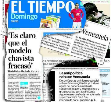 """Auf denTitelseiten kolumbianischer Zeitungen wird das """"chavistische Modell"""" für gescheitert erklärt"""