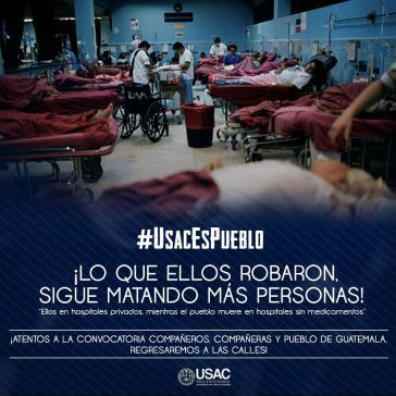 Anzeige aus der Protestkampagne gegen die Krise im Gesundheitswesen in Guatemala