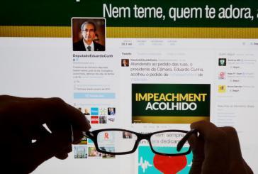 """""""Amtsenthebungsverfahren angenommen"""". Eduardo Cunha teilte am Mittwoch seine Entscheidung via Twitter mit"""