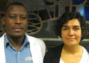 Rodrigo Castillo von Conpaz und Ana María Rodríguez von der Kolumbianischen Juristenkommission