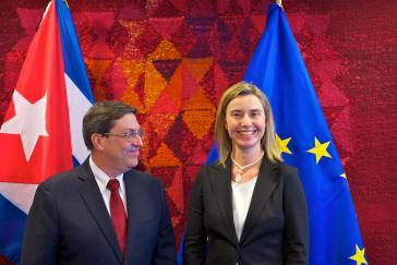 Im April hatten sich der kubanischen Außenminister, Bruno Rodríguez, und die hohe Vertreterin der EU für Außen- und Sicherheitspolitik, Federica Mogherini, in Brüssel getroffen