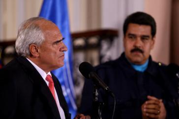 UNASUR-Generalsekretär Samper und Venezuelas Präsident Maduro am vergangenen Mittwoch in Caracas